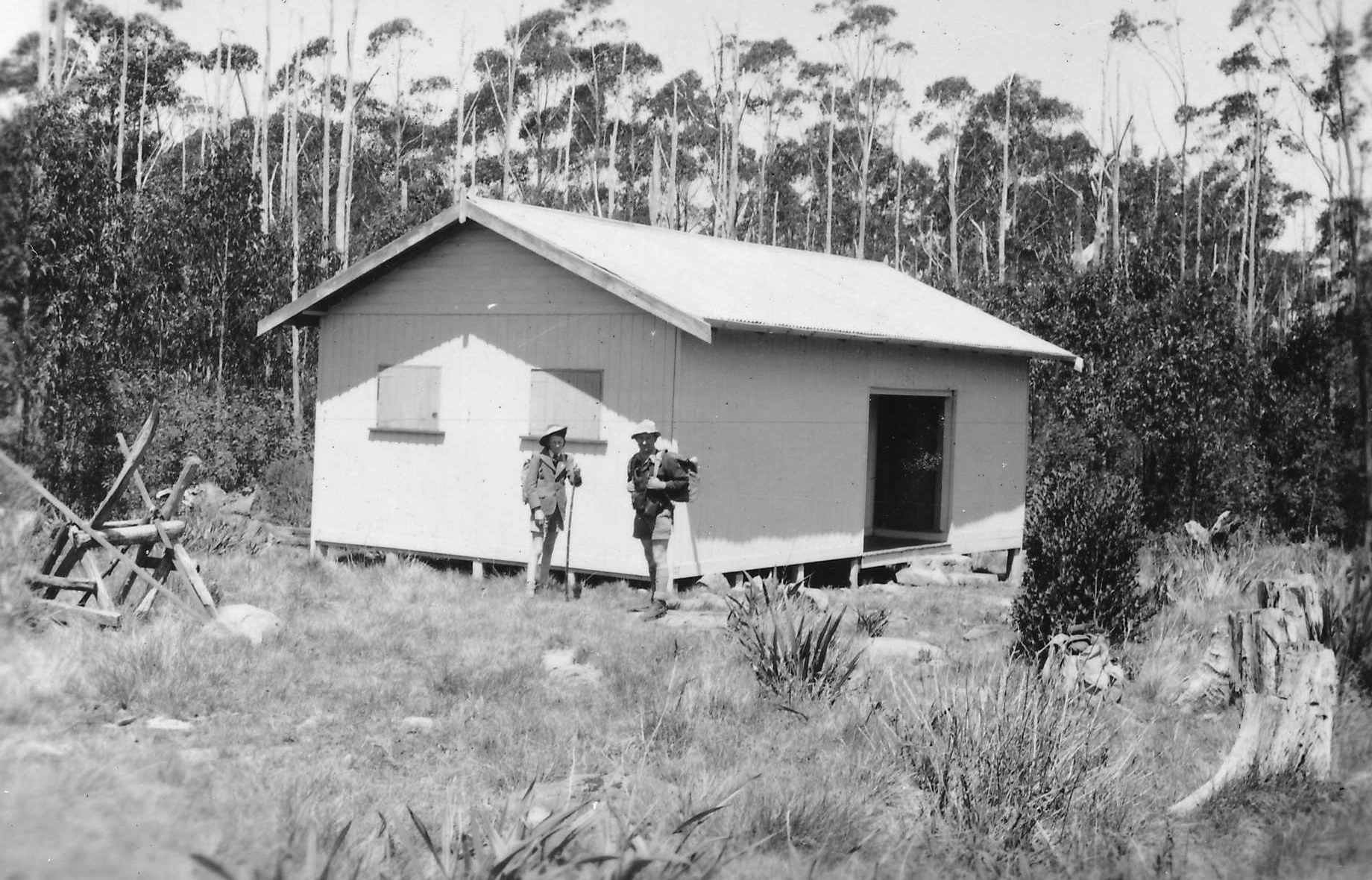The rebuilt Melbourne Walking Club hut on the same site in 1950. Used with permission