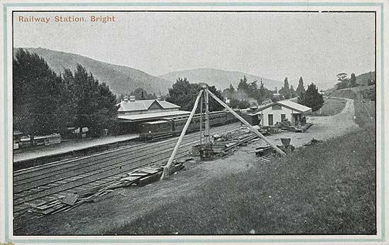 Bright railway station in the 1920s. It was here where guests bound for the Feathertop Bungalow transfered to cars for the trip to Harrietville.