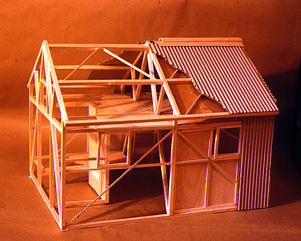 A model of one of Peter Kneen's proposals for MUMC Hut. It was later was adapted by Paul Kennedy as the basis for the first Federation Hut elsewhere on Feathertop © P. Kneen