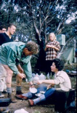 Nina Cole serving out lunch. Tom Kneen on left, Ross Smith