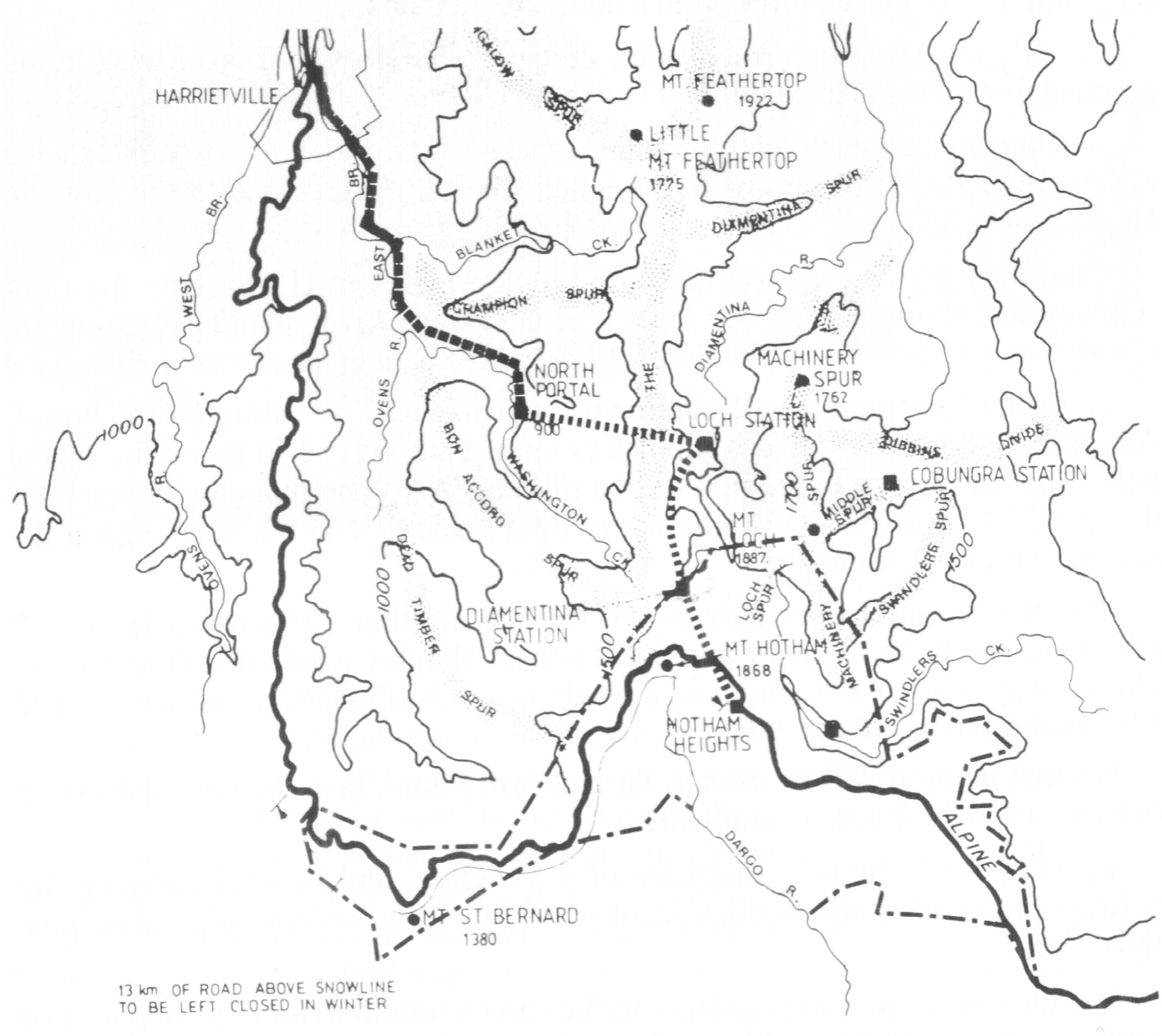The proposed railway from Harrietville to Hotham with a station on the Razorback. From Wal Larsen. The Ovens Valley Railway. 2nd ed, 1997. p. 160.