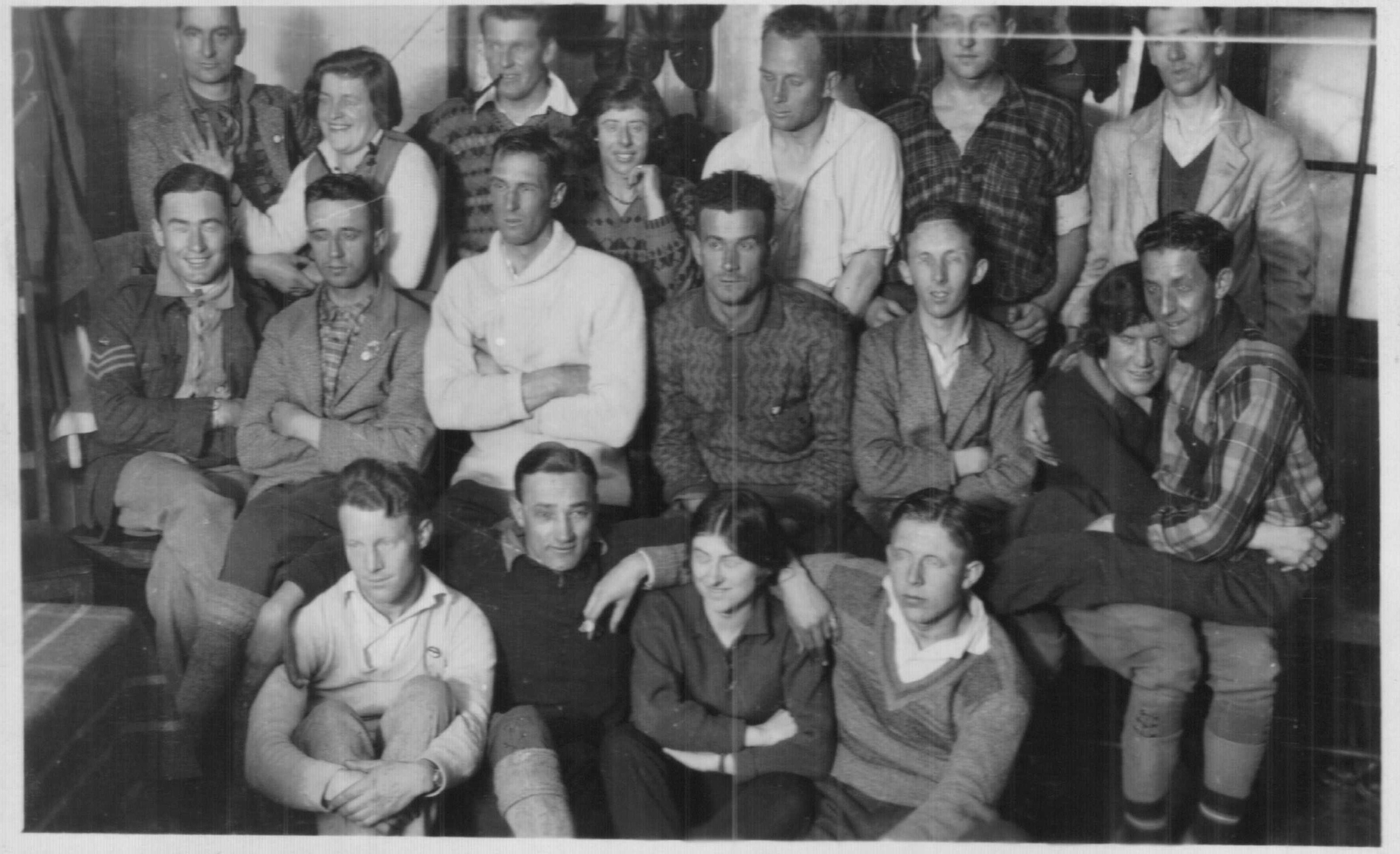 SCV 1929 club championships group shot. While it doesn't reveal much, this may be the only surviving interior photo of the Bungalow. Photo Kath Magill.