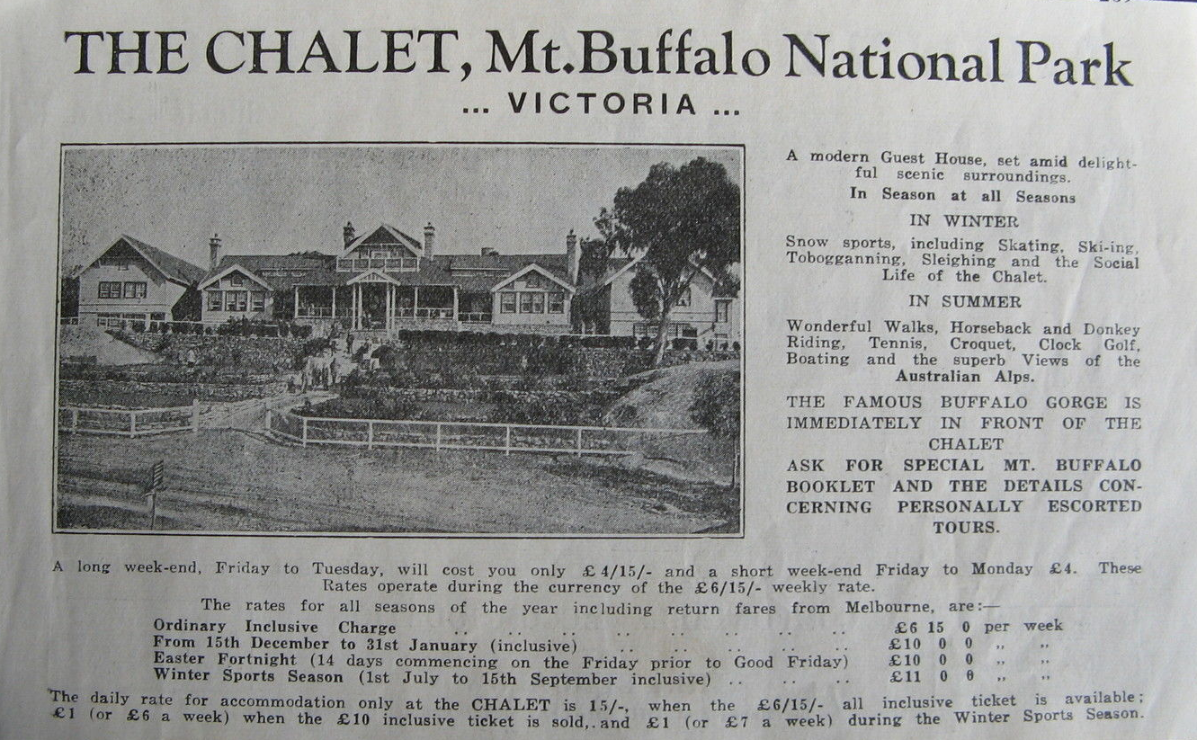 Ad for the Buffalo Chalet which appears to be from the time it was run by Hilda Samsing