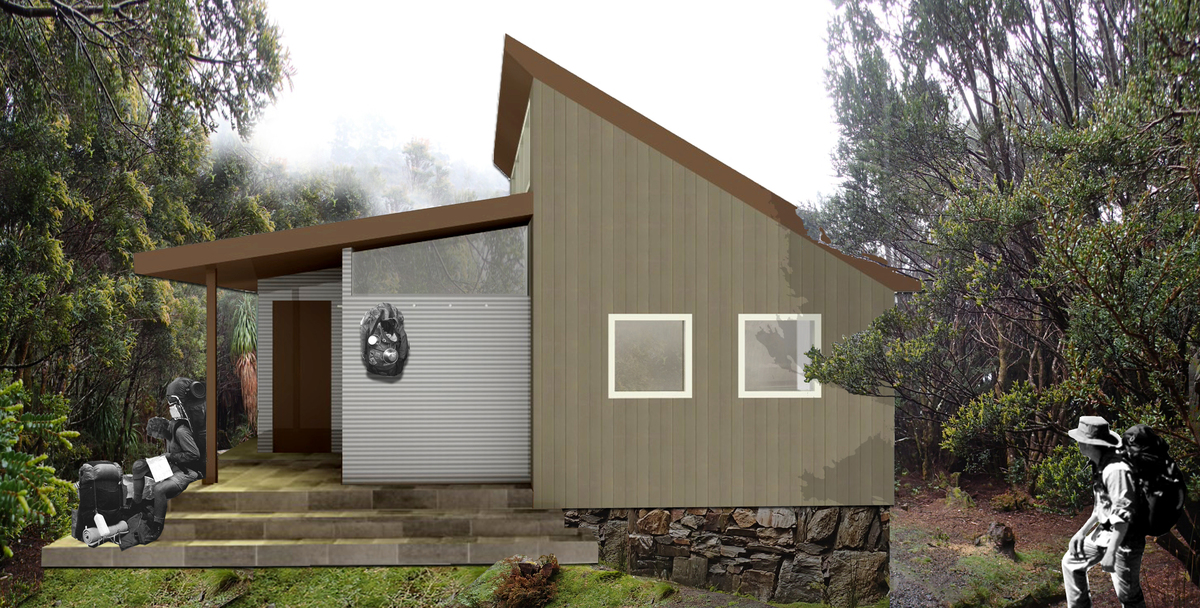 A proposal for the third Tahune hut. Floorplan on the  architects website .