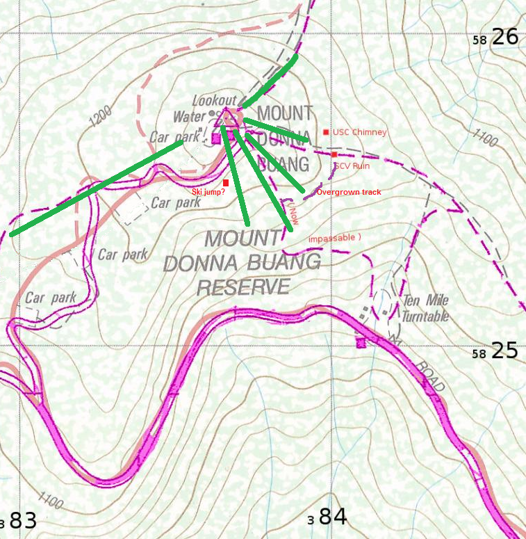 !938 .  The green lines represent the six main ski runs, most buildings such as lodges and cafes are not shown. The car park was at 10 mile and the summit road was closed in winter