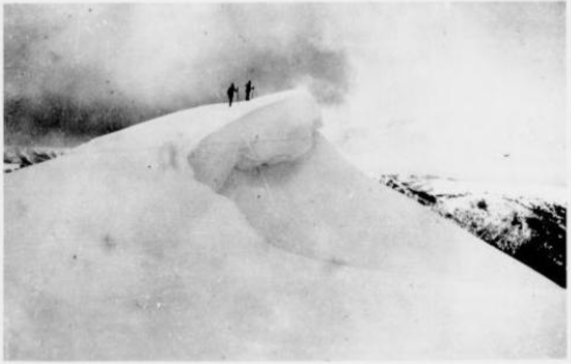 What not to do. A 1929 photo of the summit ridge by Warrand Begg showing skiers standing on a cornice that could easily collapse. This is one reason why Feathertop has the highest body count of any mainland Australian mountain. (Although Federation Peak in Tasmania has had slightly more deaths.)