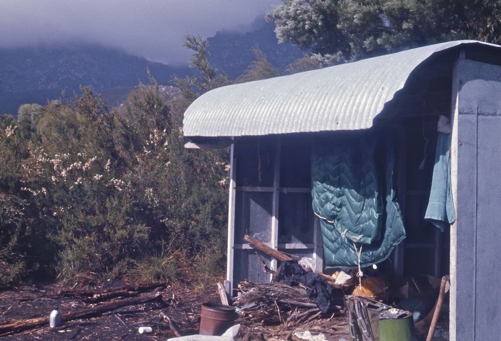 Junction Creek shelter in 1975. © David Noble from his  23 day walk in S.W. Tas  album.