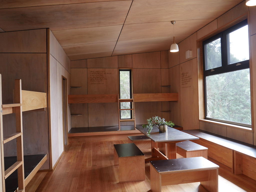 Interior of the third Lake Tahune hut built in 2018. Photo from  Valley Workshop  website.