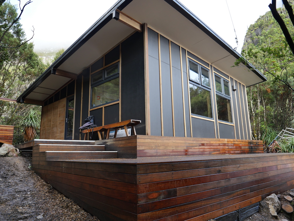 Exterior of the third hut at Lake Tahune. Built 2018. Photo from  Valley Workshop  website.