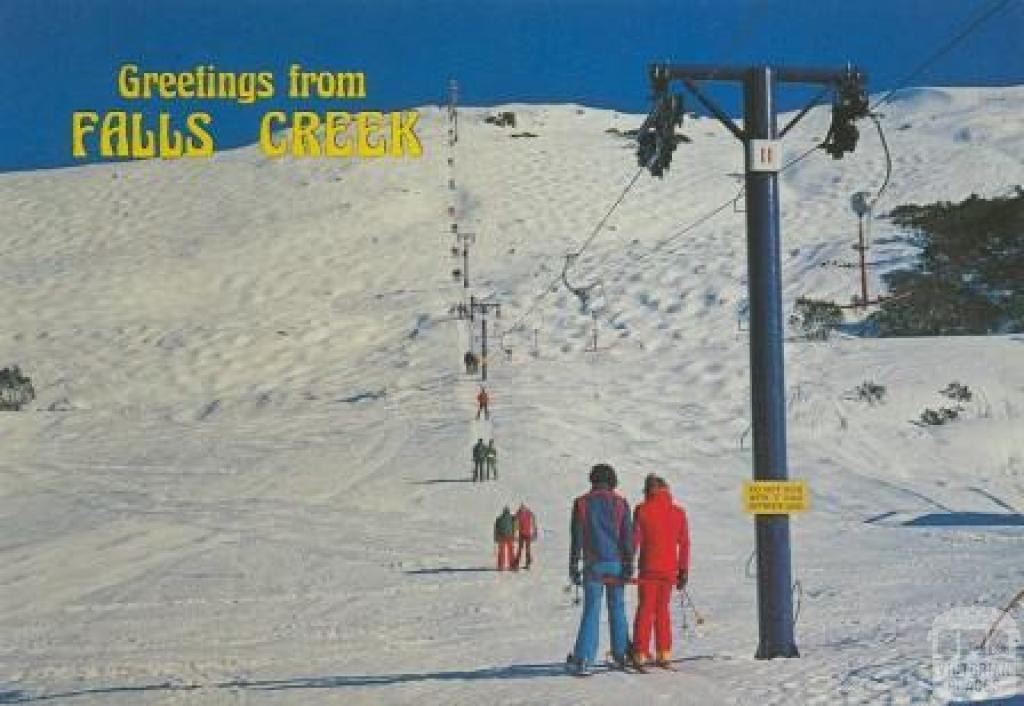Murray Views postcard of the Ron McCallum built Summit T-bar (1961 - 1991).