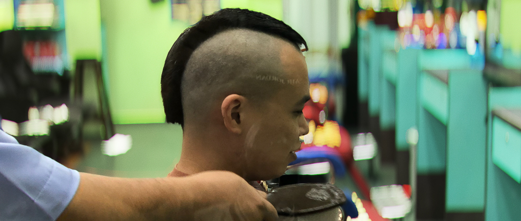 Mohawk time; shaving off the excess to adapt to the hot weather. June 2018