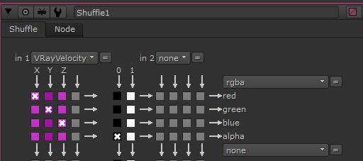 En el nodo  Shuffle  pasamos la velocidad a RGBA con el A en negro