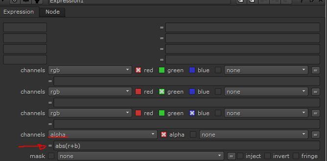 Añadimos una E xpresion  y asignamos al final un canal alpha donde escribimos la expresion.