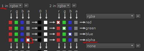 Donde en la entrada 1 va el canal alfa y en la 2 la imagen rgb.