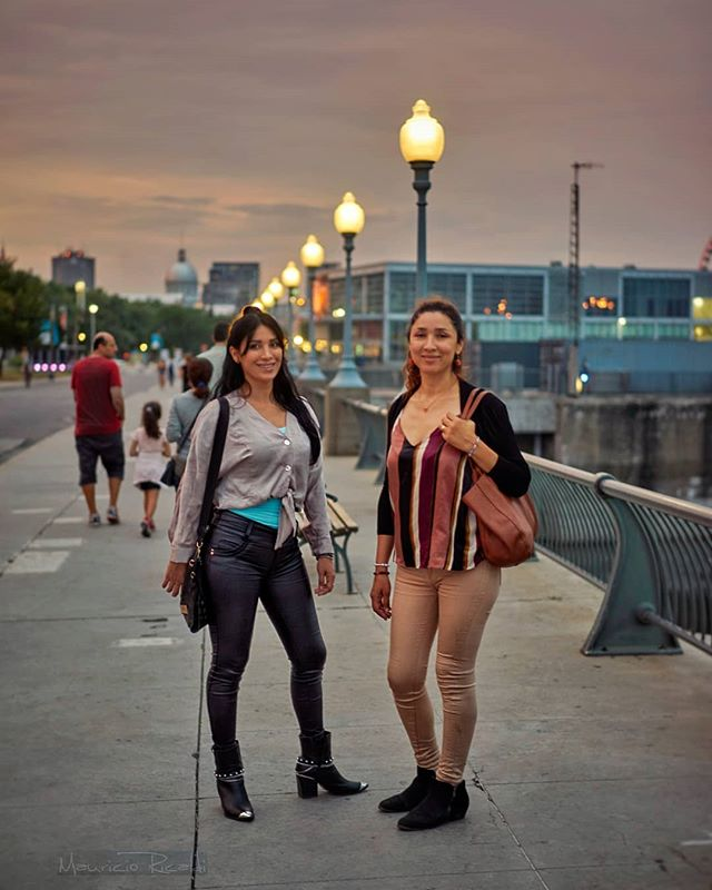 At the old port in Montreal #sisters #oldportmtl #sunset