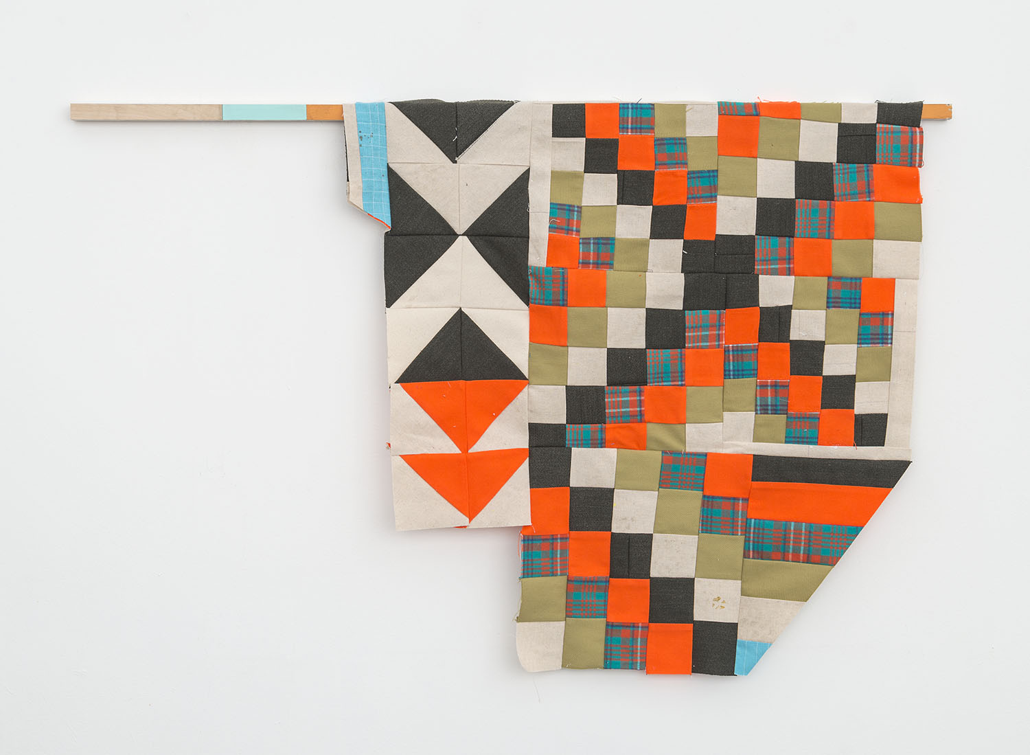 Hunting Season  , 2018 Acrylic, colored pencil, cotton, canvas, wool and wood 28 x 42 inches (71.1 x 106.7 cm)
