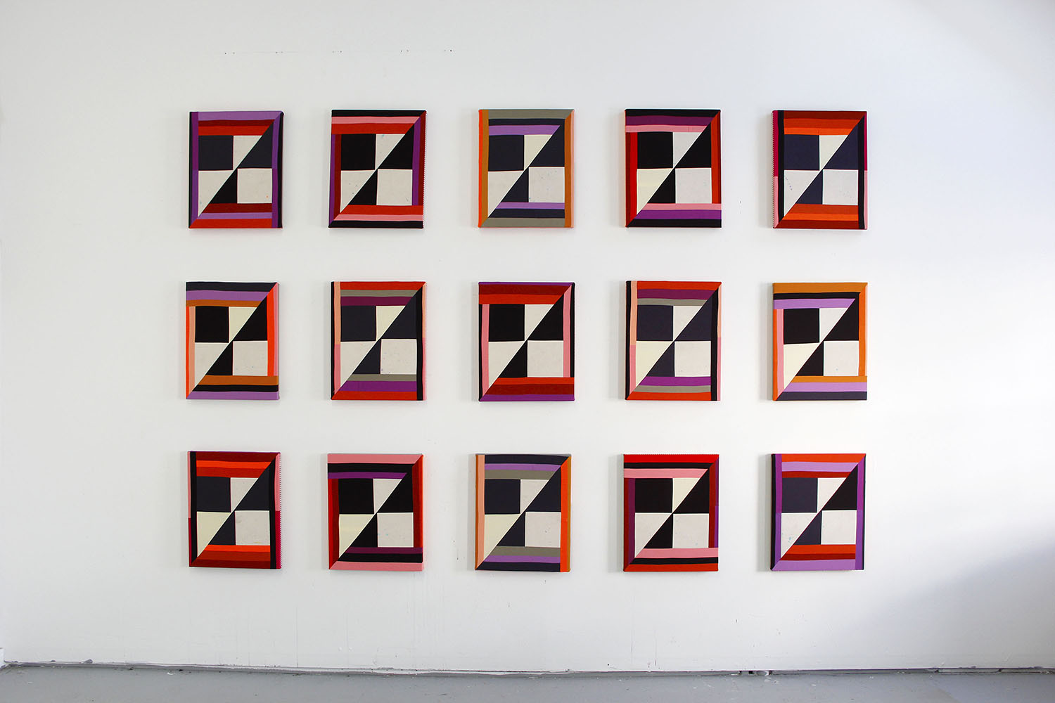Every One   ,  2019 Sewn cotton, canvas, acrylic (15 panels) 20 x 16 inches each (50.8 x 40.6 cm) Patricia Sweetow Gallery, San Francisco, CA