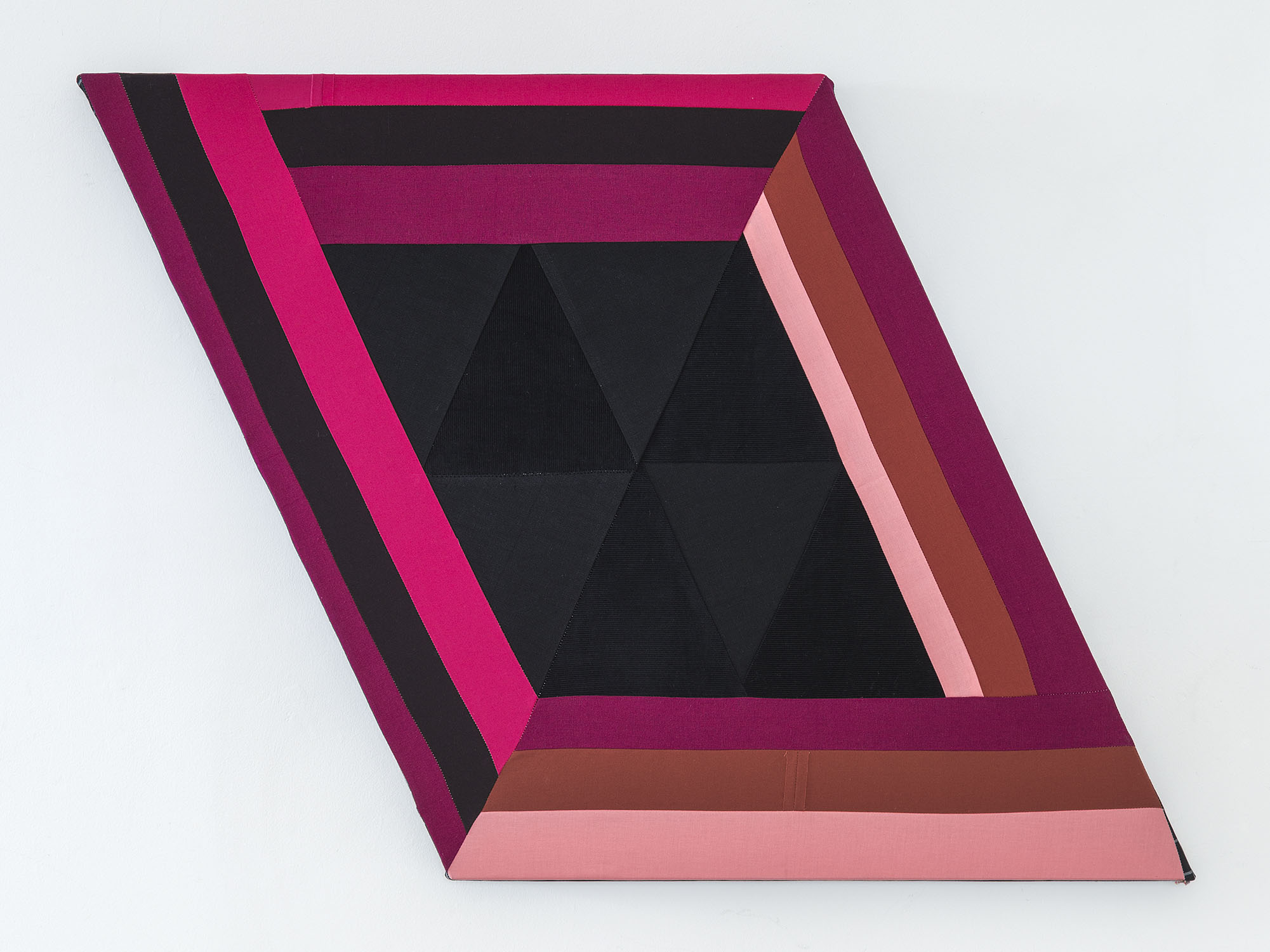 Night Cherry   ,  2019 Sewn cotton, corduroy and canvas on shaped support 25 x 34.5 inches overall (63.5 x 87.6 cm overall)