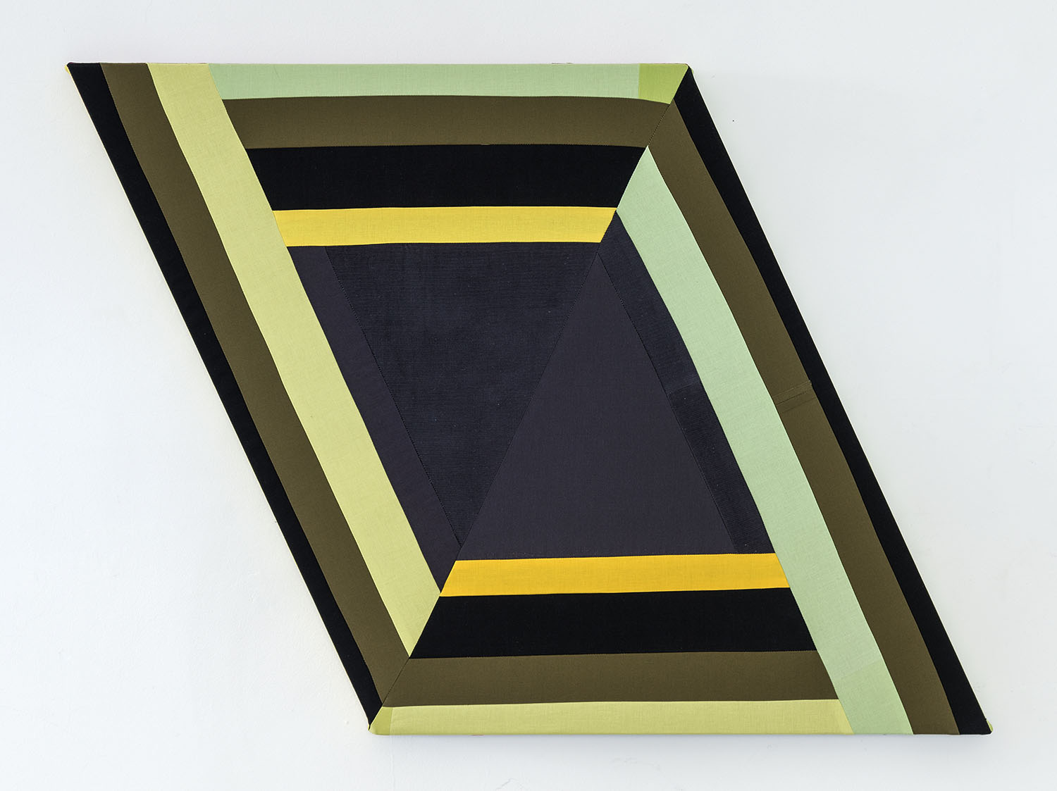Know Wrong Angles   ,  2019 Sewn cotton, corduroy and canvas on shaped support 25 x 34.5 inches overall (63.5 x 87.6 cm overall)