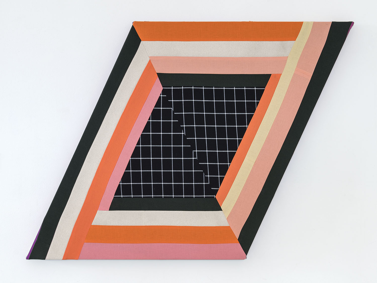 Fruit Machine   ,  2019 Sewn cotton and canvas on shaped support 25 x 34.5 inches overall (63.5 x 87.6 cm overall)