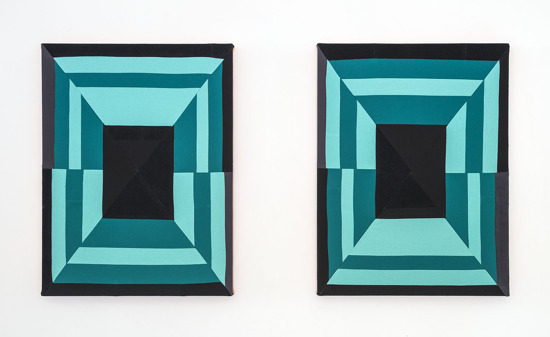 A Deeper Love (Diptych)  , 2019 Sewn cotton, corduroy, canvas 24 x 18 inches each (61 x 45.7 cm each)