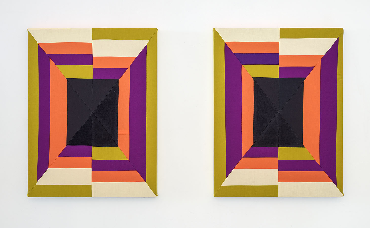 Crush On You (Diptych)  , 2019 Sewn cotton, corduroy, canvas 24 x 18 inches each (61 x 45.7 cm each)