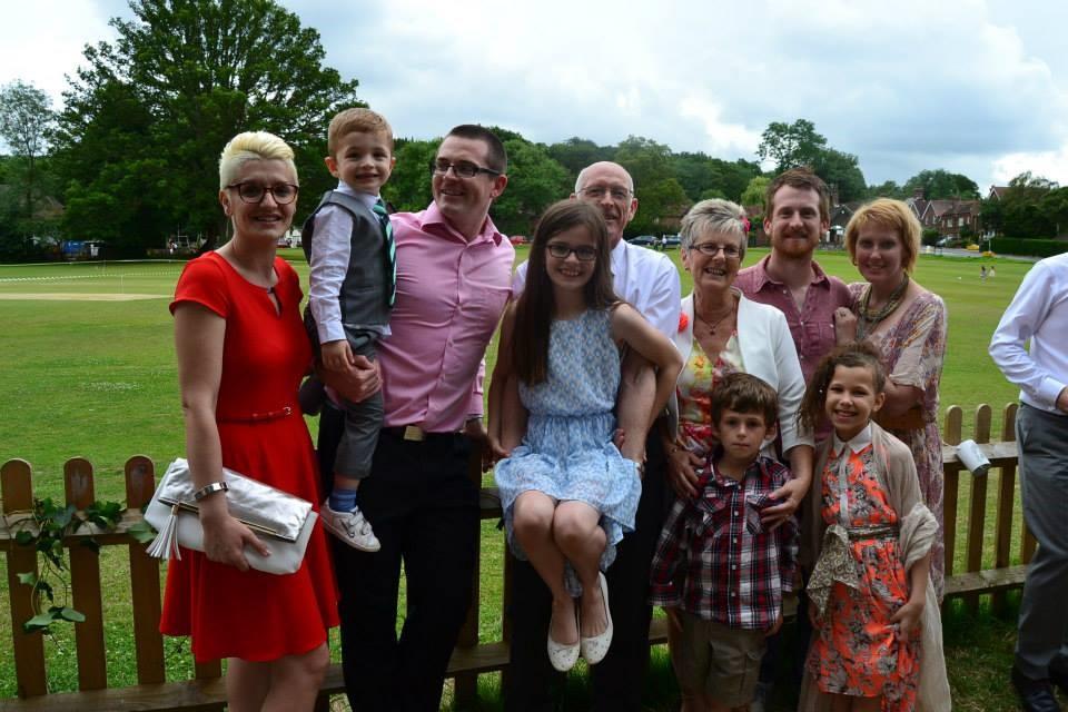 Joy with her husband, children and grandchildren.