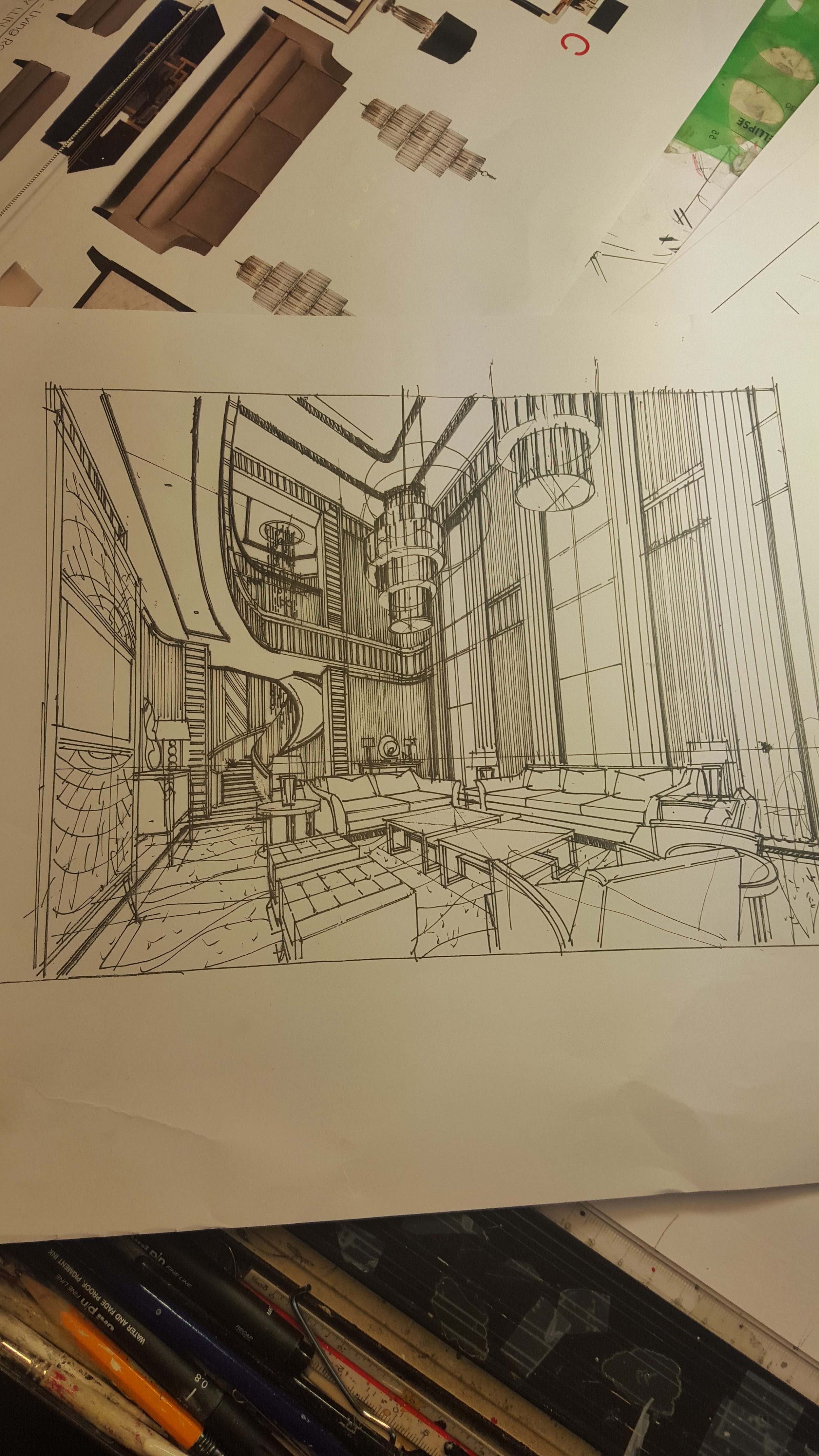 Interior sketching Hand Rendering Freehand sketch Design