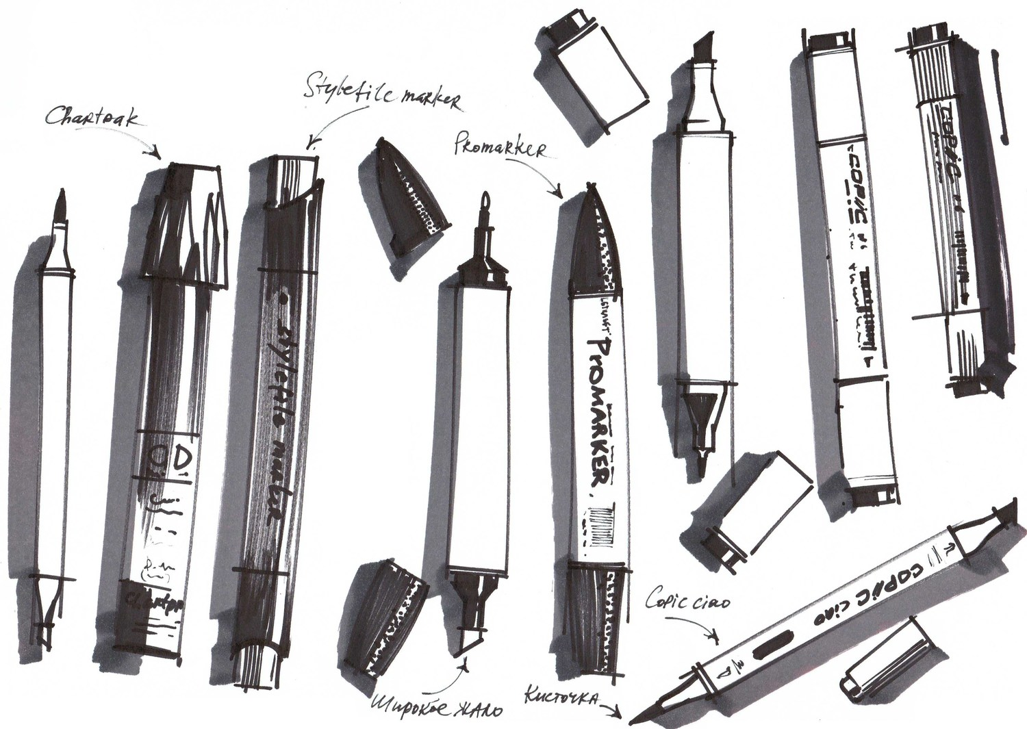 markers for interior sketching