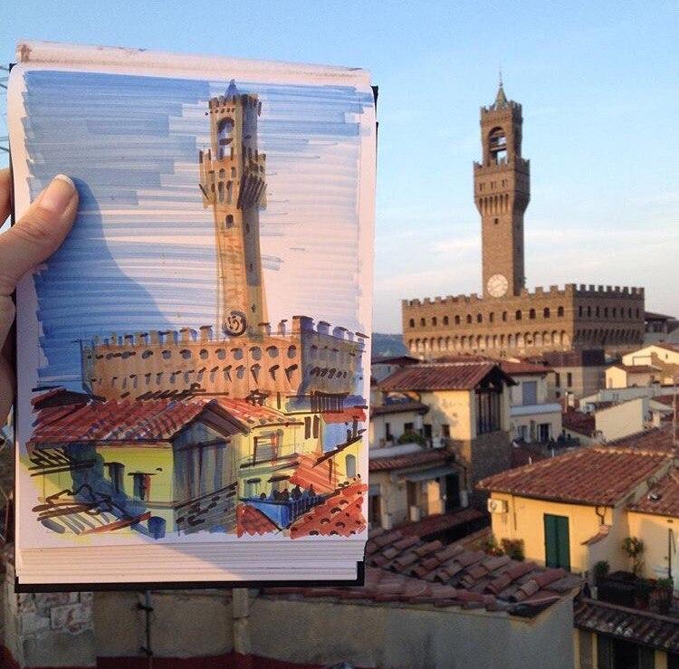итальянский скетч Флоренция