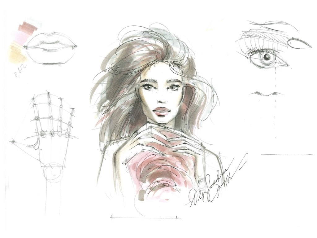 В данном скетче я как раз использовала два серых для глаз и волос, телесный цвет для кожии два приглушенно-розовых(скетч из моего видео-курса фэшн скетчинга маркерами для начинающих).