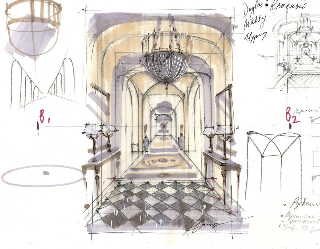 Здесь я нарисовала интерьер в перспективе в 1 точку схода, а плитка на полу нарисована в 2 точки схода.