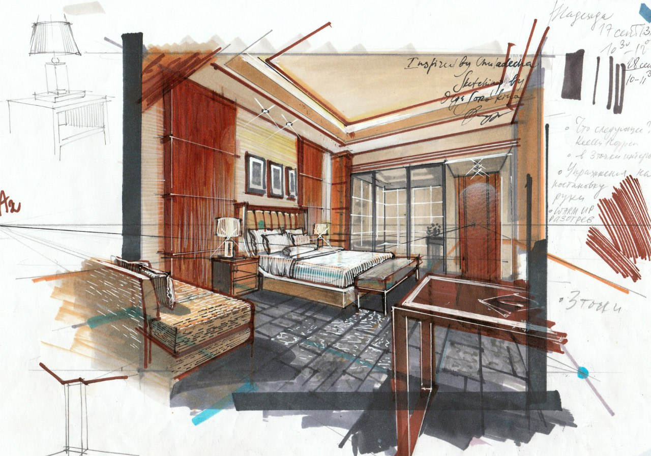 Interior drawing from my ecourse PRO. Check other sketches   here  .