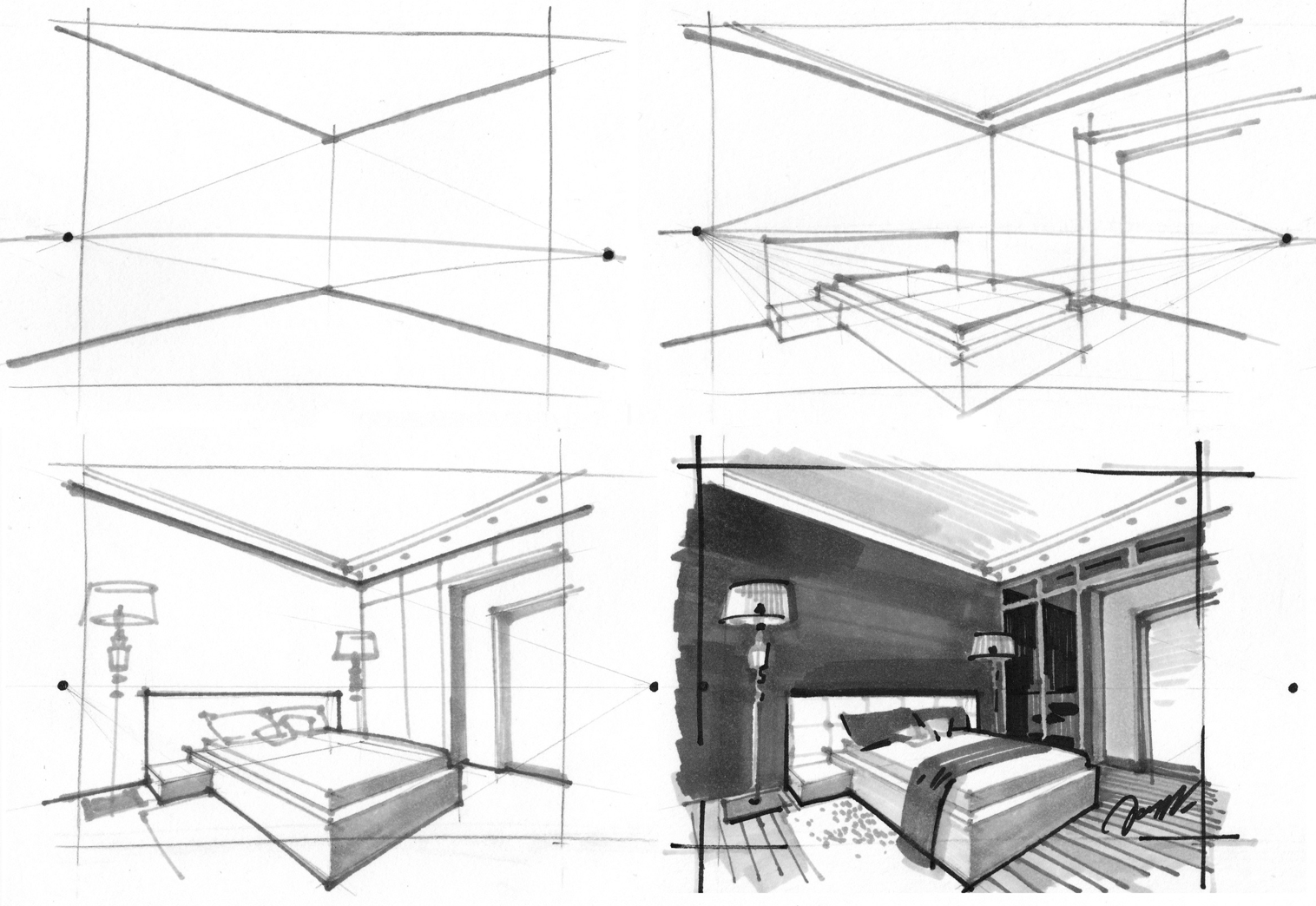 2 point perspective interior