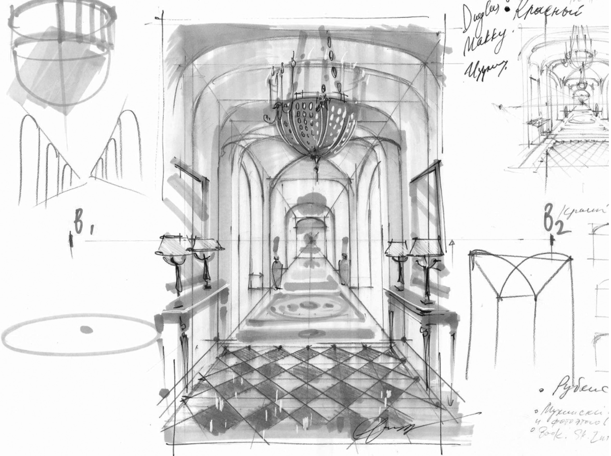 1 point perspective interior
