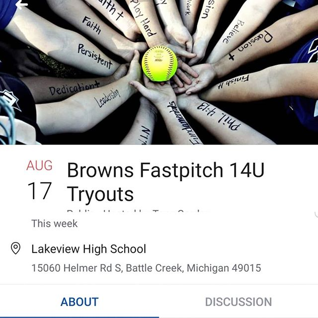 The Browns 14U fastpitch are holding tryouts this Saturday the 17th at Lakeview high school in battle creek.  Looking to fill several positions! If you need a private tryout contact Tony Gordon 2696012910. #14ufastpitchsoftball #fastpitchsoftball