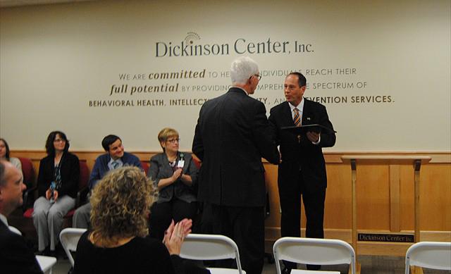 Senator Scarnati congratulating Jack Goga, DCI CEO