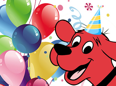 clifford with birthday hat and balloons