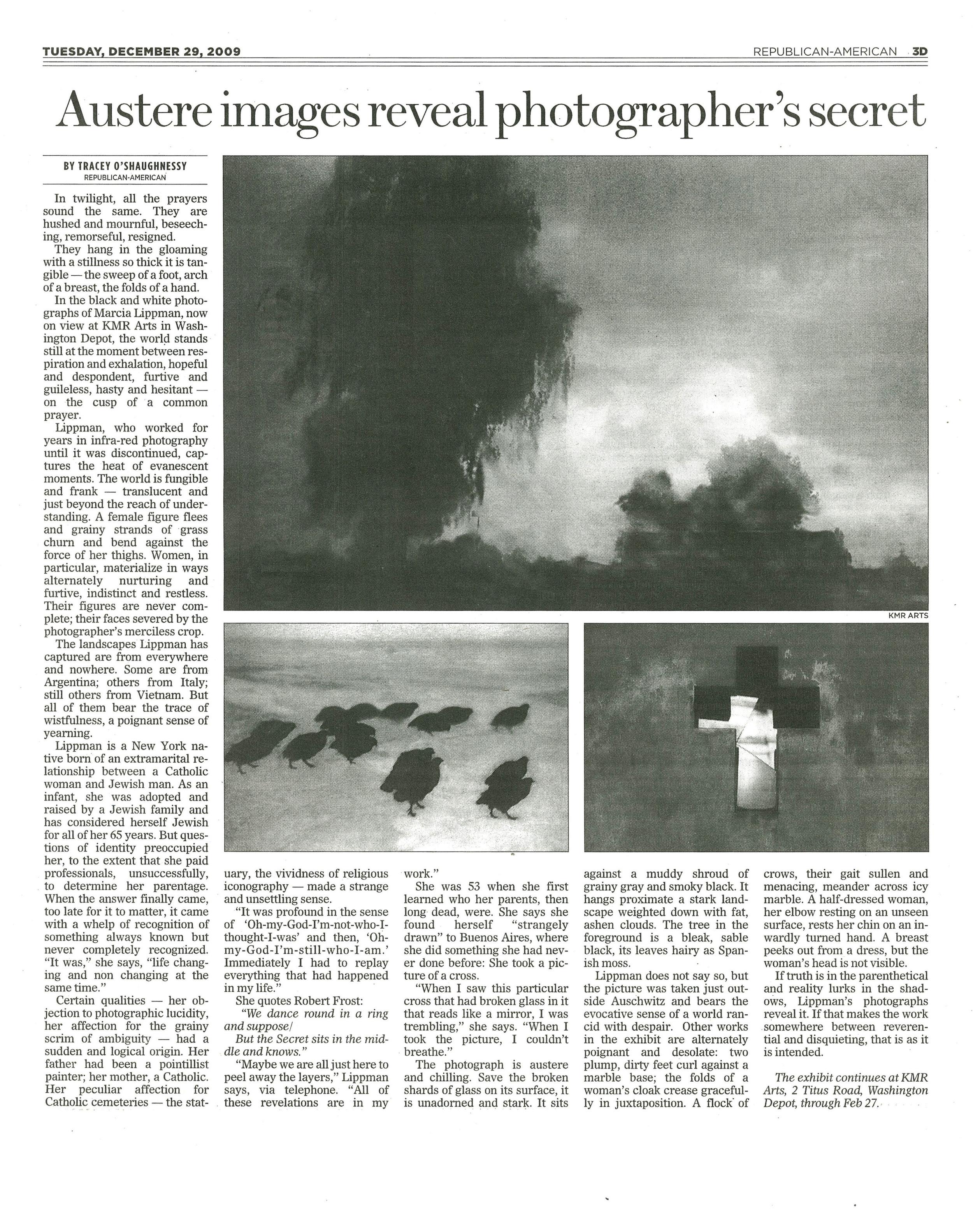 Austere Images Reveal Photographers' Secret. December 29, 2009. Republican American.jpg