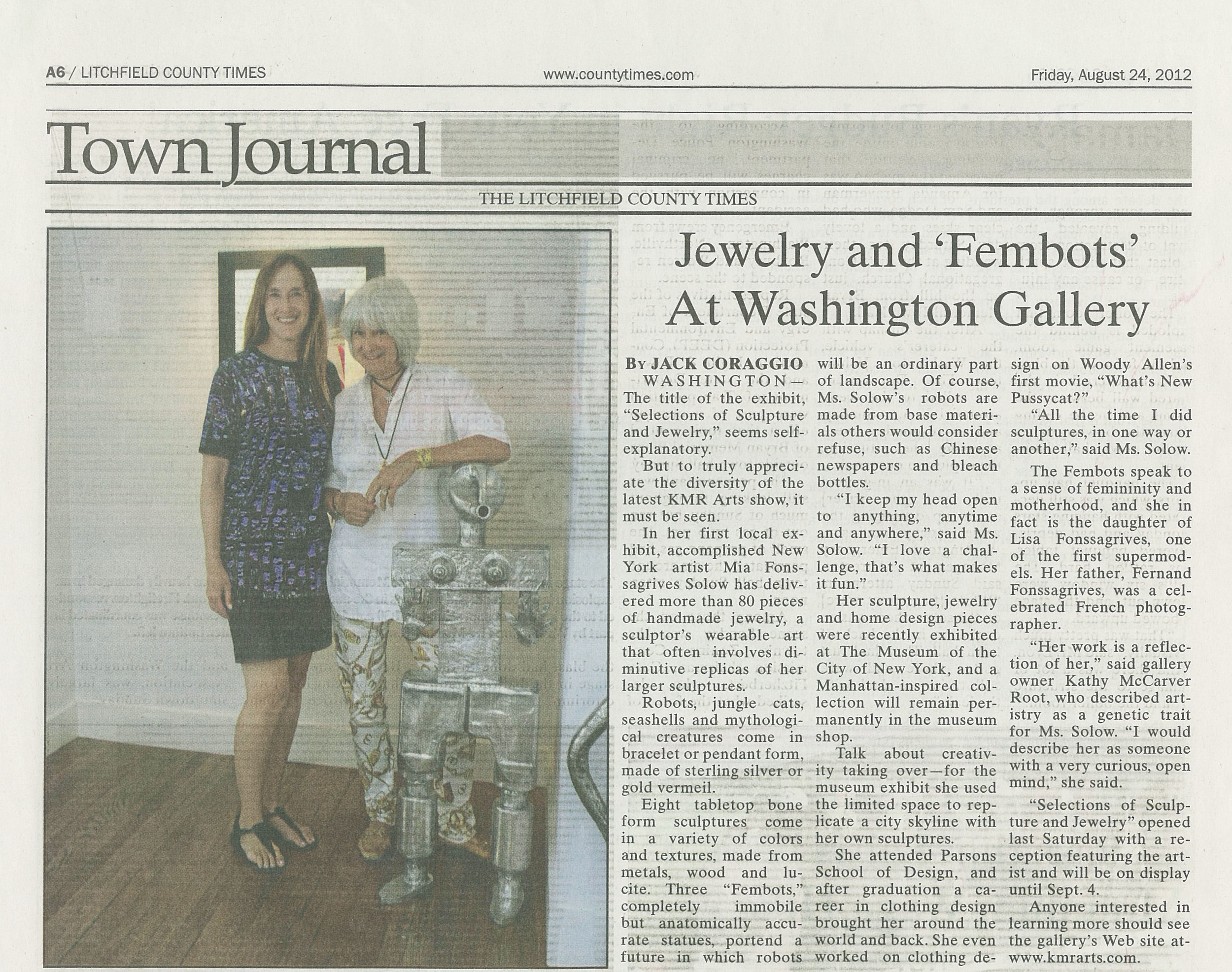 Jewelry and 'Fembots' At Washington Gallery. Aug 24, 2012 Litchfield County Times .jpg