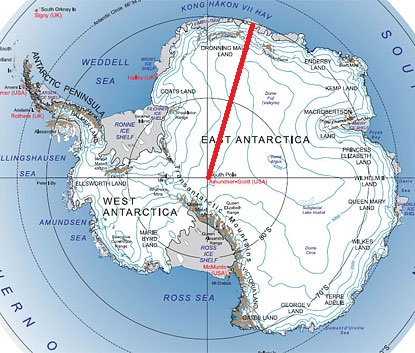 The expedition's route across East Antarctica, 2010