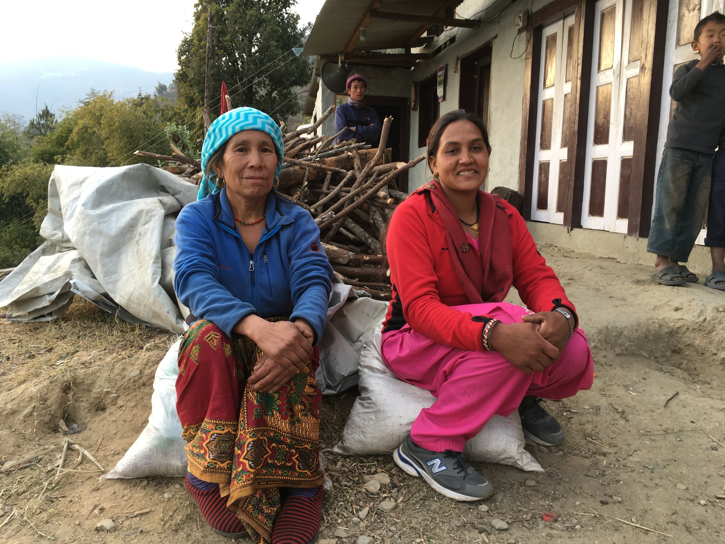 Syana Maya Rai and Kamala Rai in Deusa. Training at the TGT funded AFRC has enabled Syana and Kamala to introduce new crops on their farm.
