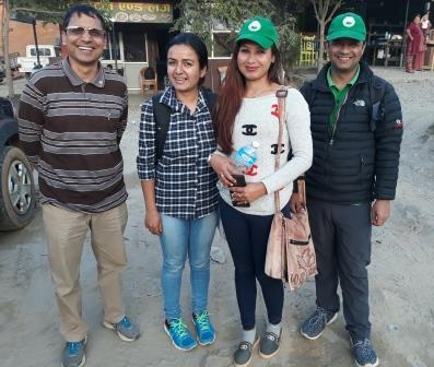 Eco Himal Nepal are working in Kavre and will help to co-ordinate the Higher Education programme in June 2018. Here, from left to right are Narayan, Anisha, Laxmi (who works in Kavre full time) and Keshab. (March 2018)