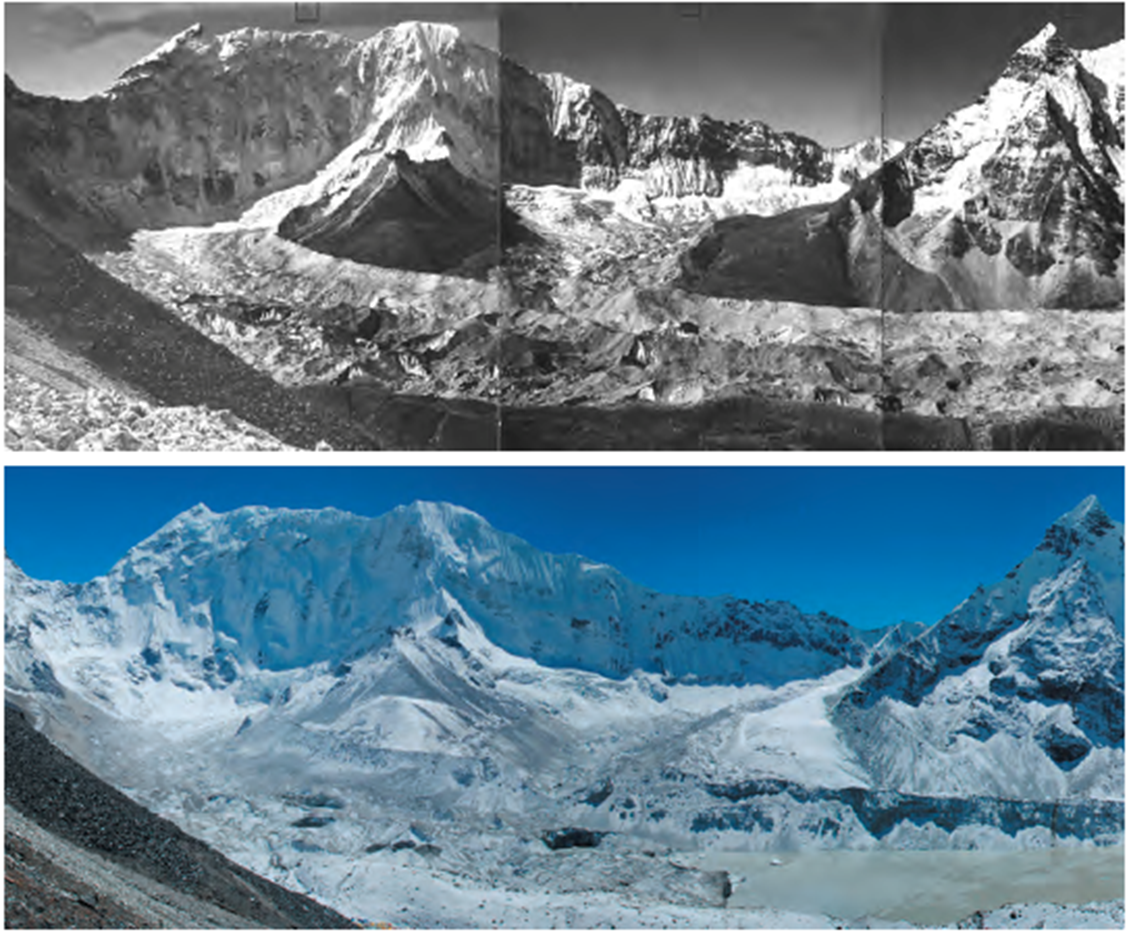 Figure 4.  Repeat photographs of Imja Lake from 1956 when the lake did not exist (credit: Fritz Müller) to 2007 where the lake has become one of the fastest growing lakes in Nepal (credit: Alton Byers).