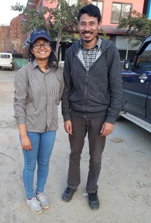 Saraswoti and Amrit in Kavre during a pre-planning visit in March.