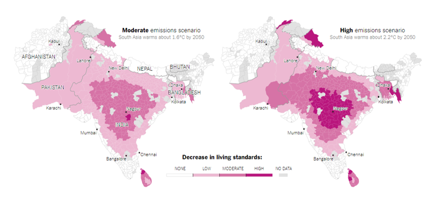 "Source: The World Bank.  The World Bank defines a decline of more than 8 percent in household living standards as high or ""severe""; four to eight percent as moderate; and zero to four percent as low. Living standards are measured by per capita consumption expenditures.  (New York Times, 2018)"