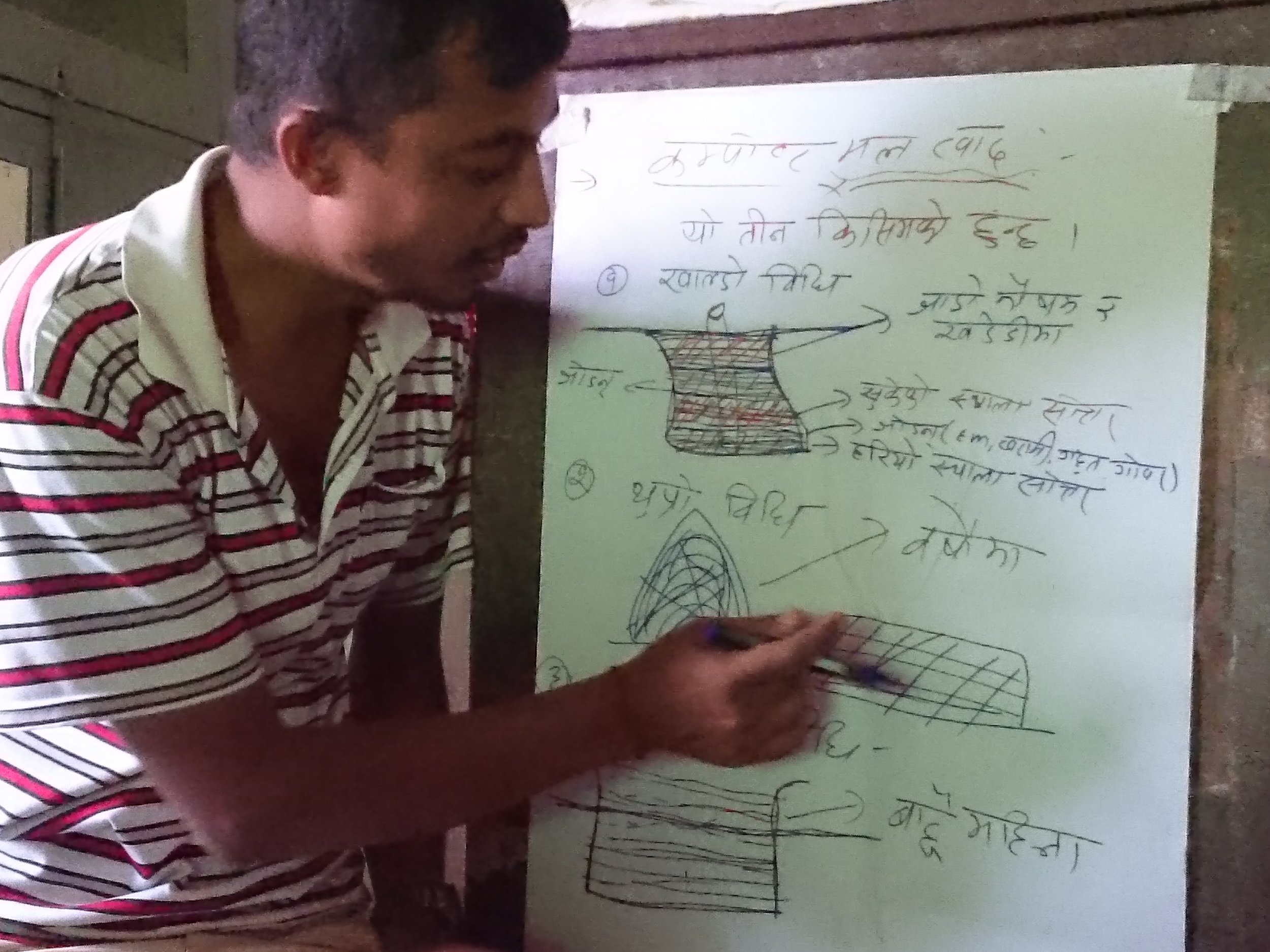 HICODEF project manager Jindagi teaching at a Farmer Field School theory session in Deurali