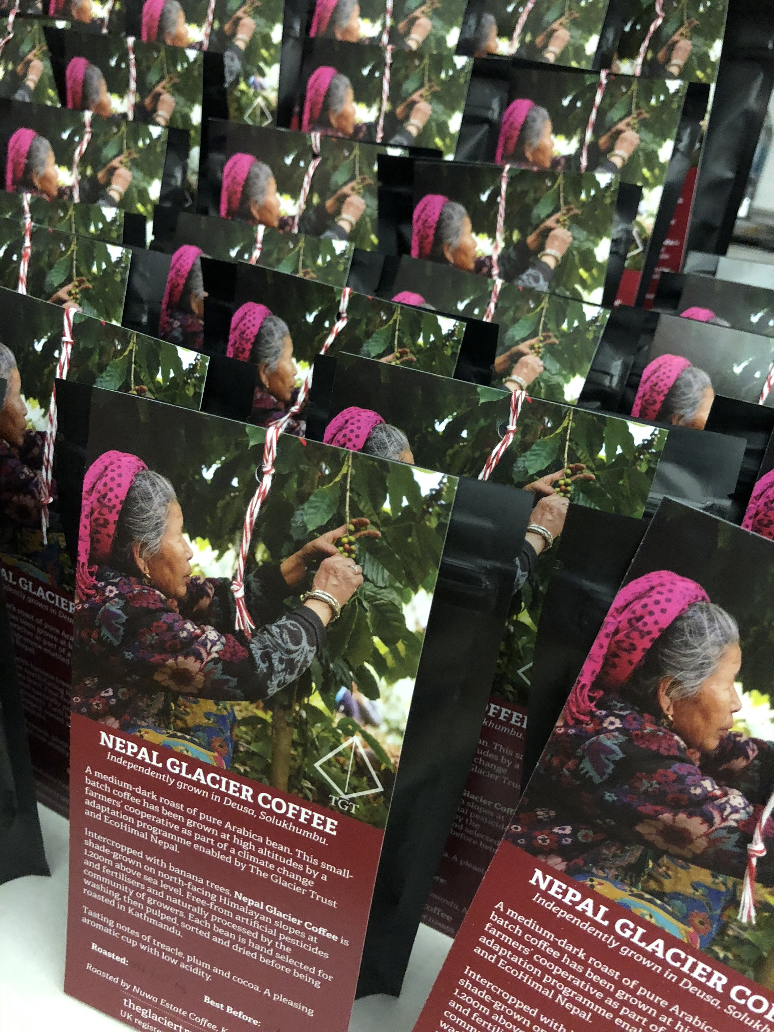 Finally, back in London, the coffee is re-packaged into 150g bags and sold through the TGT website. All of the profit raised from selling the coffee (£2 per bag) returns to Nepal where TGT enables further climate change adaptation work.