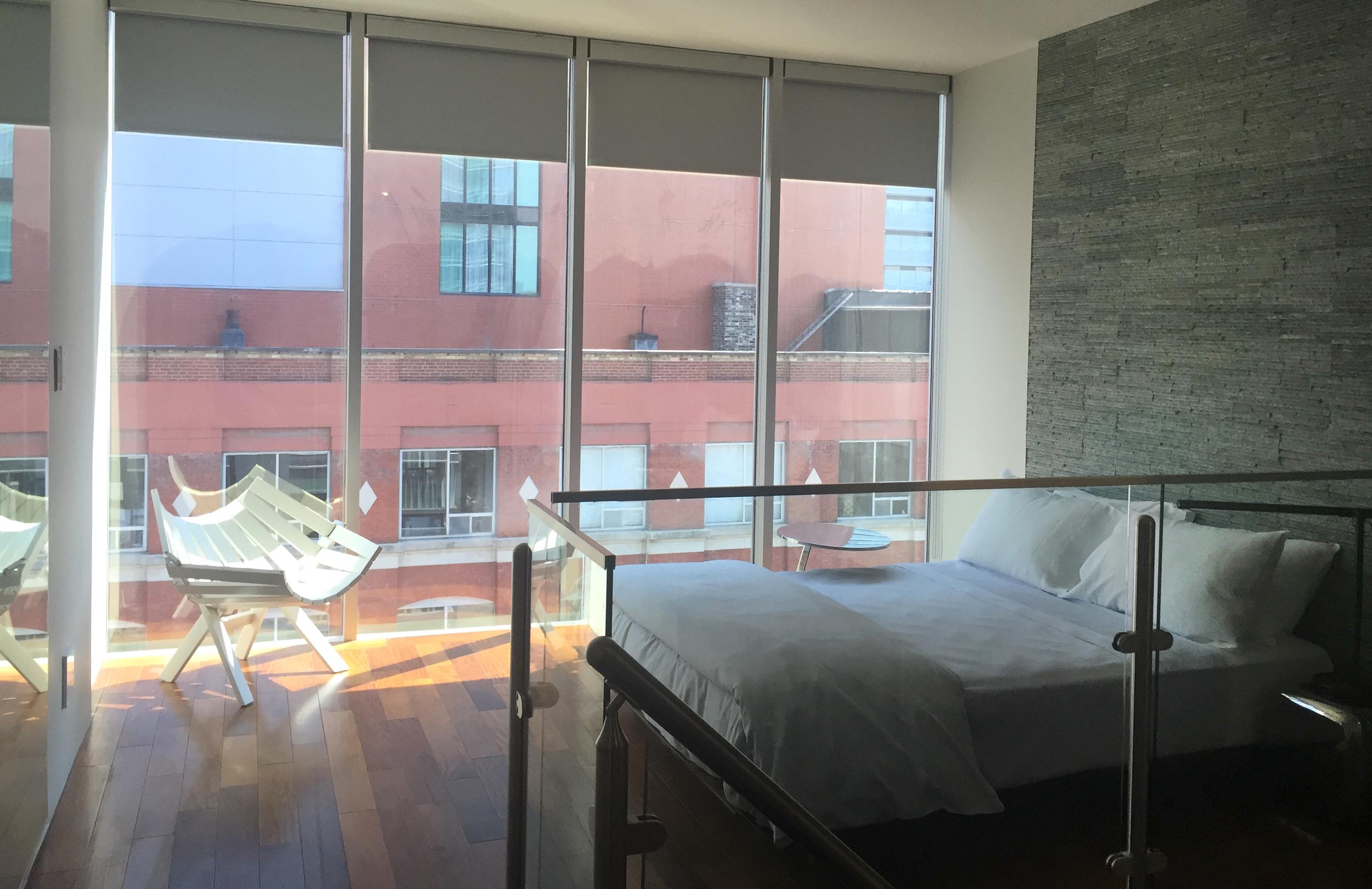 Queen-sized bedroom in the Queen South Loft