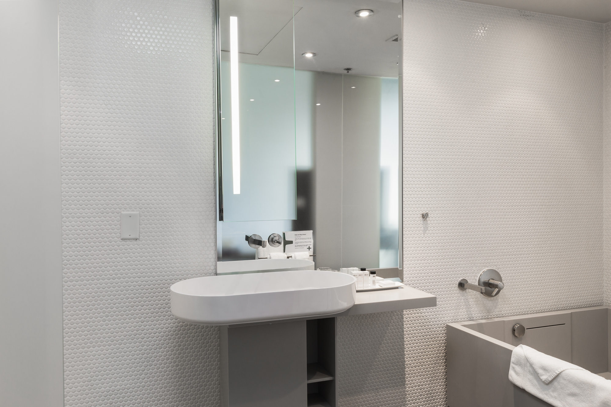 Open-concept bathroom in the King Suites